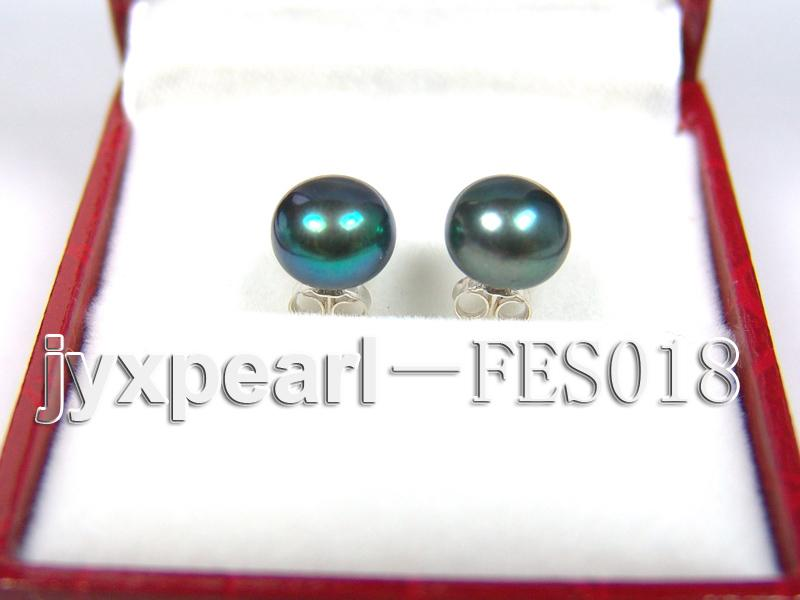 8.5mm Peacock Blue Flat Cultured Freshwater Pearl Earrings big Image 1