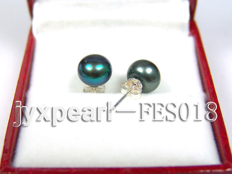 8.5mm Peacock Blue Flat Cultured Freshwater Pearl Earrings big Image 2