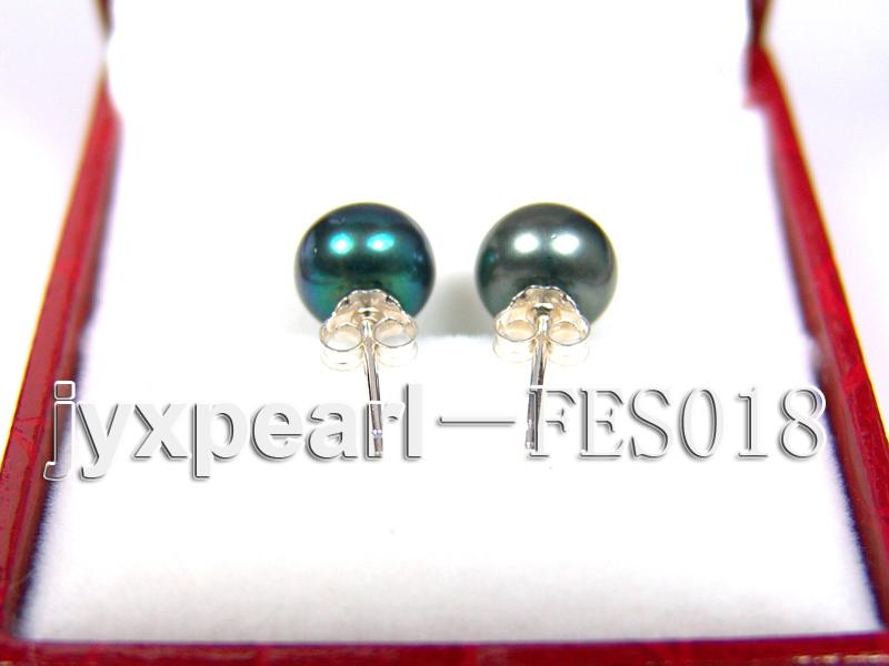 8.5mm Peacock Blue Flat Cultured Freshwater Pearl Earrings big Image 3