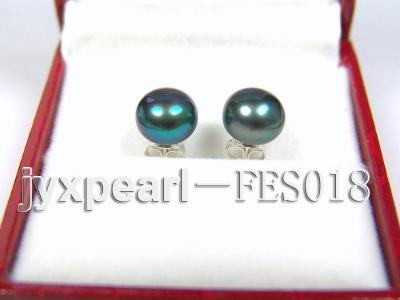 8.5mm Peacock Blue Flat Cultured Freshwater Pearl Earrings FES018 Image 1