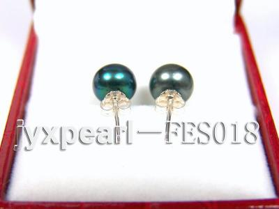 8.5mm Peacock Blue Flat Cultured Freshwater Pearl Earrings FES018 Image 3