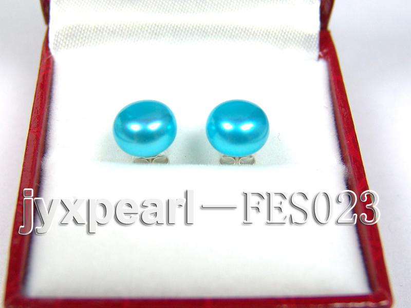 8.8mm Blue Flat Cultured Freshwater Pearl Earrings big Image 1