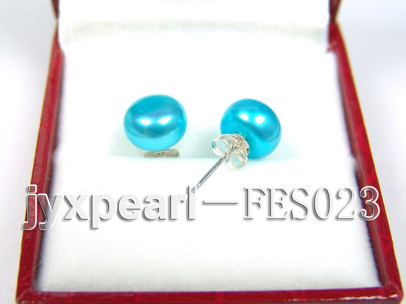 8.8mm Blue Flat Cultured Freshwater Pearl Earrings big Image 2