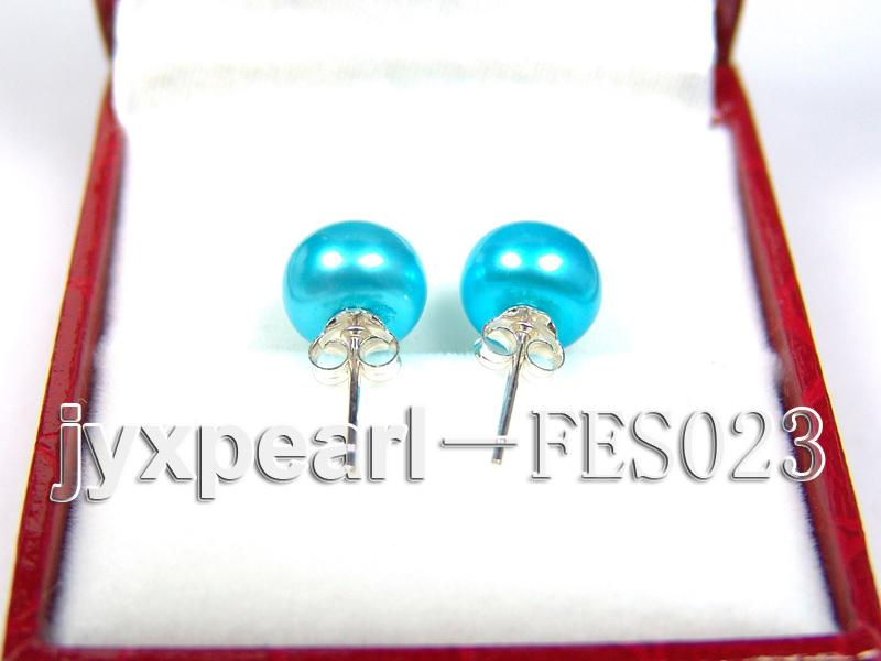 8.8mm Blue Flat Cultured Freshwater Pearl Earrings big Image 3