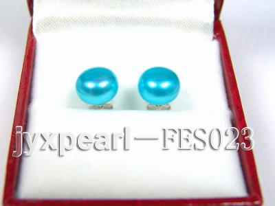 8.8mm Blue Flat Cultured Freshwater Pearl Earrings FES023 Image 1