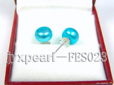 8.8mm Blue Flat Cultured Freshwater Pearl Earrings FES023 Image 2