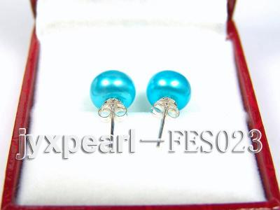 8.8mm Blue Flat Cultured Freshwater Pearl Earrings FES023 Image 3