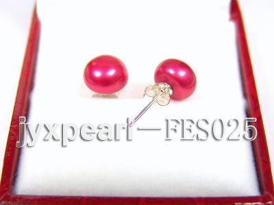 8.5mm Peach Flat Cultured Freshwater Pearl Earrings FES025 Image 2