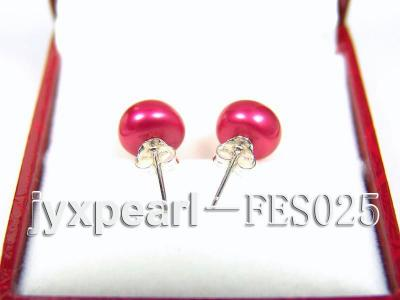 8.5mm Peach Flat Cultured Freshwater Pearl Earrings FES025 Image 3