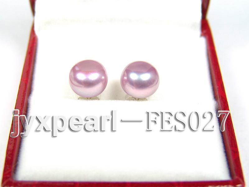 8.8mm Lavender Flat Cultured Freshwater Pearl Earrings big Image 1