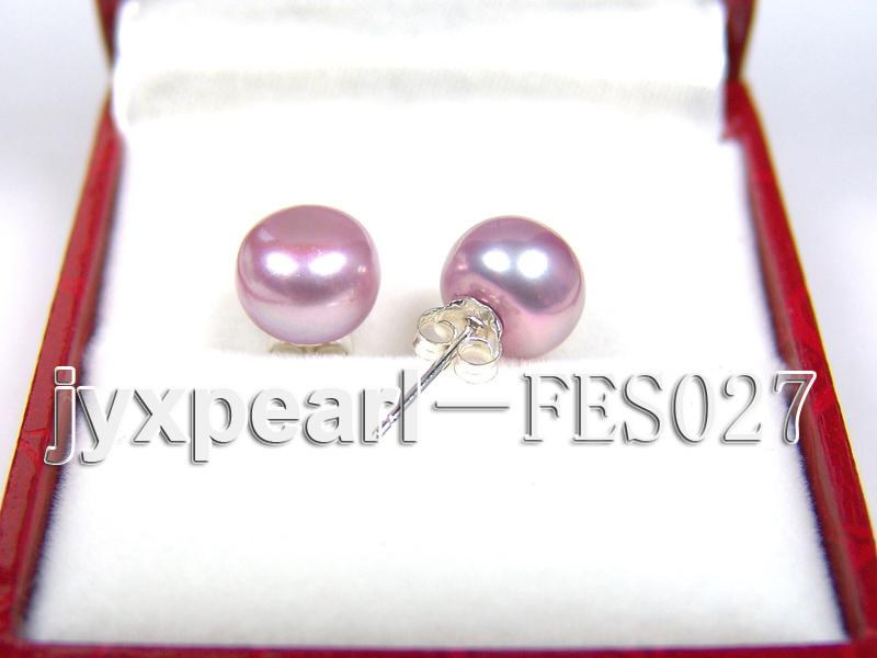 8.8mm Lavender Flat Cultured Freshwater Pearl Earrings big Image 2