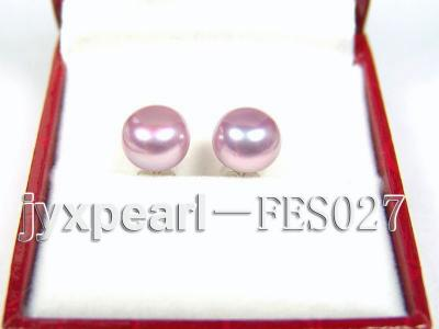 8.8mm Lavender Flat Cultured Freshwater Pearl Earrings FES027 Image 1