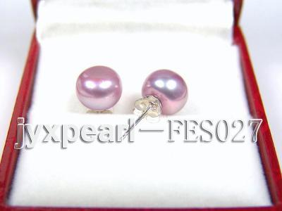8.8mm Lavender Flat Cultured Freshwater Pearl Earrings FES027 Image 2