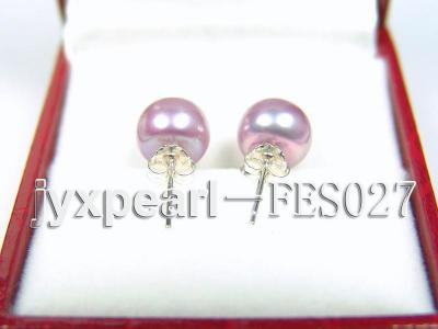 8.8mm Lavender Flat Cultured Freshwater Pearl Earrings FES027 Image 3