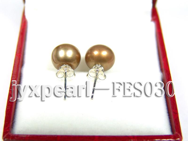 8mm Brown Flat Cultured Freshwater Pearl Earrings big Image 3