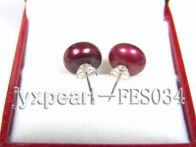 10mm Aubergine Flat Cultured Freshwater Pearl Earrings FES034 Image 3