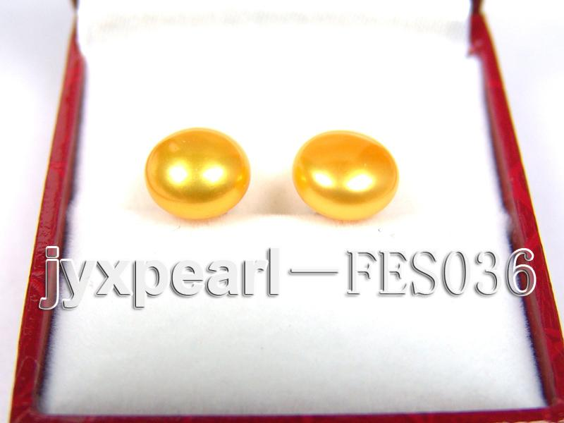 10mm Yellow Flat Cultured Freshwater Pearl Earrings big Image 1