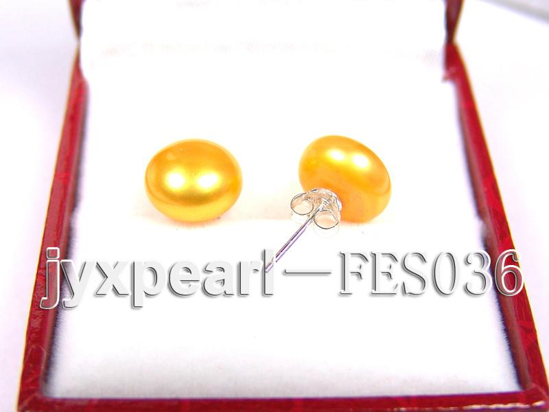 10mm Yellow Flat Cultured Freshwater Pearl Earrings big Image 2