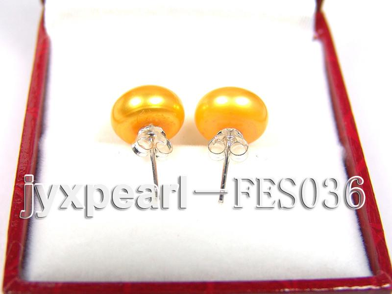 10mm Yellow Flat Cultured Freshwater Pearl Earrings big Image 3