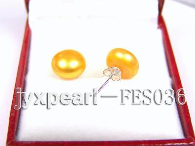 10mm Yellow Flat Cultured Freshwater Pearl Earrings FES036 Image 2