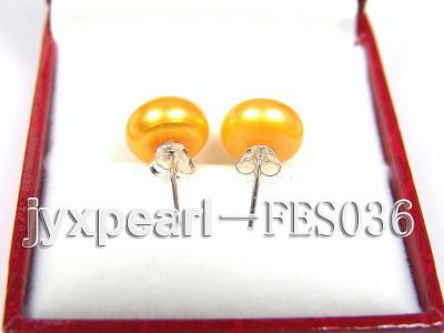 10mm Yellow Flat Cultured Freshwater Pearl Earrings FES036 Image 3