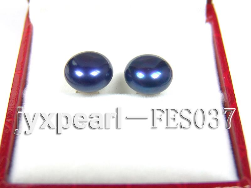 10mm Blue Flat Cultured Freshwater Pearl Earrings big Image 1