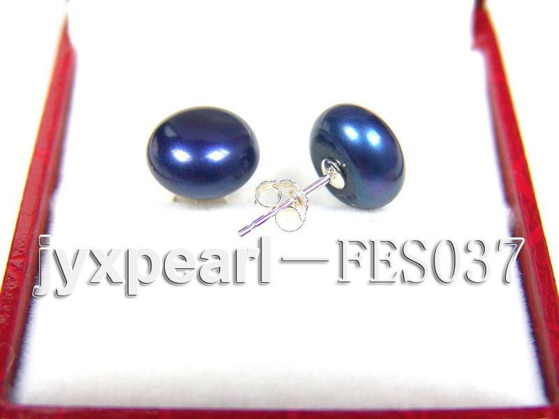 10mm Blue Flat Cultured Freshwater Pearl Earrings big Image 2