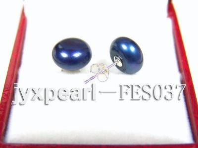 10mm Blue Flat Cultured Freshwater Pearl Earrings FES037 Image 2