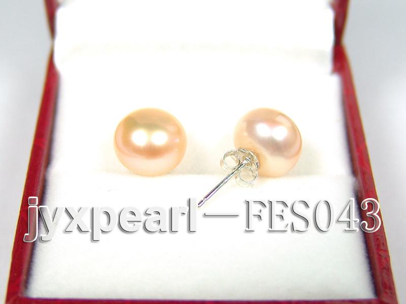 10mm Pink Flat Cultured Freshwater Pearl Earrings big Image 2