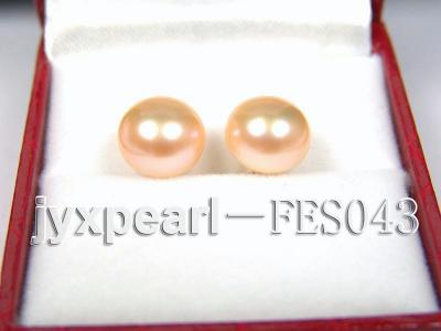 10mm Pink Flat Cultured Freshwater Pearl Earrings FES043 Image 1