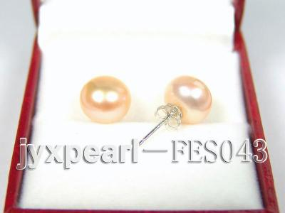 10mm Pink Flat Cultured Freshwater Pearl Earrings FES043 Image 2
