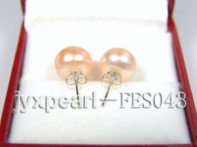 10mm Pink Flat Cultured Freshwater Pearl Earrings FES043 Image 3
