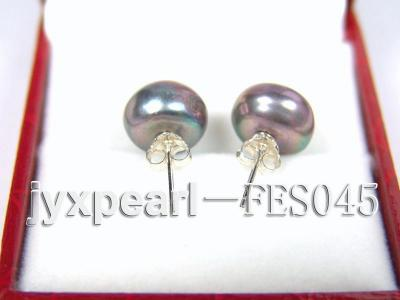 10.5mm Black Flat Cultured Freshwater Pearl Earrings FES045 Image 3