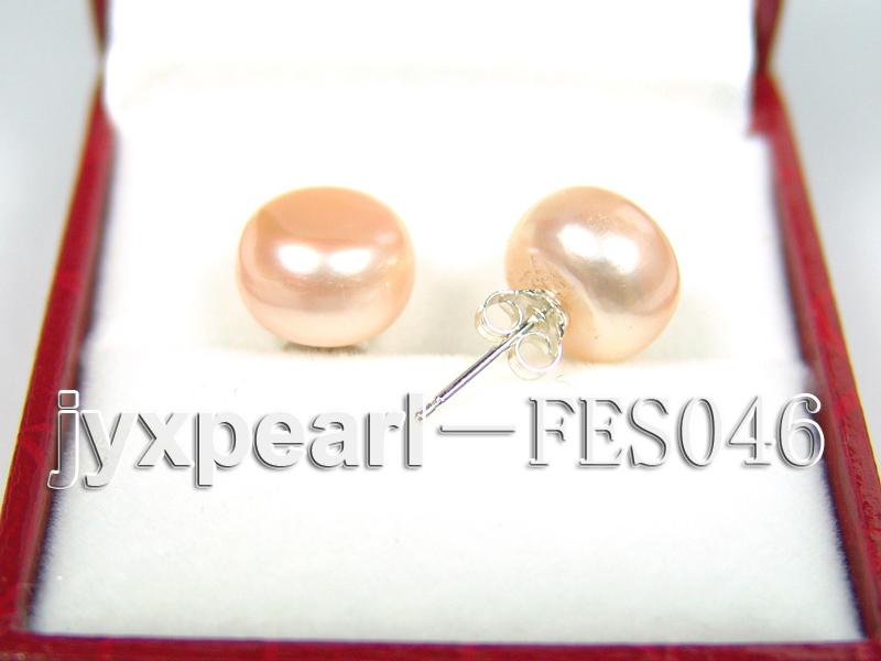 10.5mm Pink Flat Cultured Freshwater Pearl Earrings big Image 2
