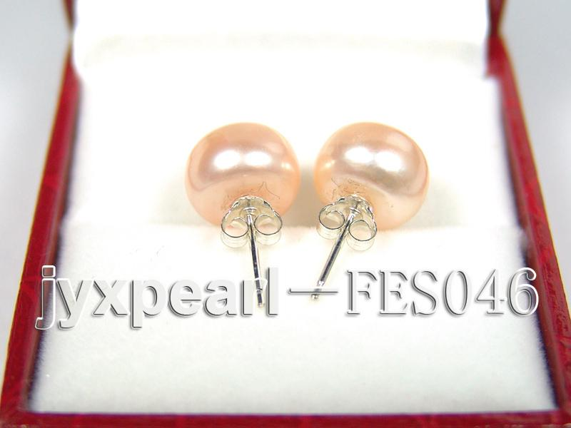 10.5mm Pink Flat Cultured Freshwater Pearl Earrings big Image 3