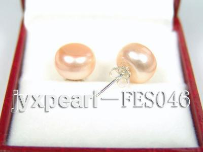 10.5mm Pink Flat Cultured Freshwater Pearl Earrings FES046 Image 2