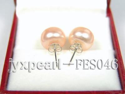 10.5mm Pink Flat Cultured Freshwater Pearl Earrings FES046 Image 3