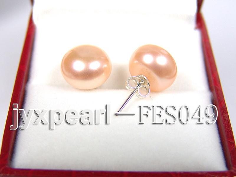 11-12mm Pink Flat Cultured Freshwater Pearl Earrings big Image 2