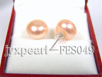 11-12mm Pink Flat Cultured Freshwater Pearl Earrings FES049 Image 2