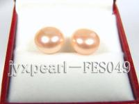 11-12mm Pink Flat Cultured Freshwater Pearl Earrings FES049