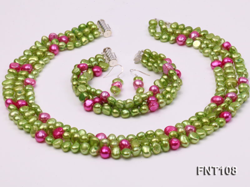 Tree-strand Green and Aubergine Freshwater Pearl Necklace, Bracelet and Earrings Set big Image 1