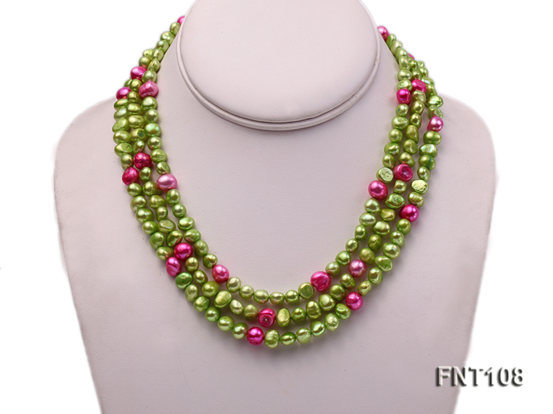 Tree-strand Green and Aubergine Freshwater Pearl Necklace, Bracelet and Earrings Set big Image 2