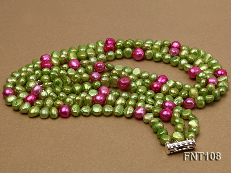 Tree-strand Green and Aubergine Freshwater Pearl Necklace, Bracelet and Earrings Set big Image 3