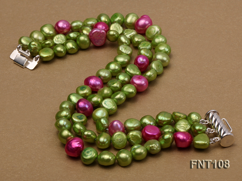 Tree-strand Green and Aubergine Freshwater Pearl Necklace, Bracelet and Earrings Set big Image 4