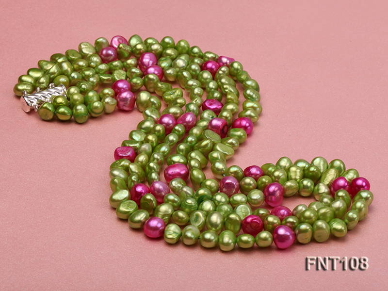 Tree-strand Green and Aubergine Freshwater Pearl Necklace, Bracelet and Earrings Set big Image 5