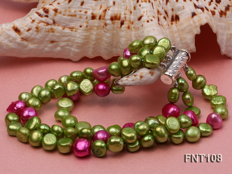 Tree-strand Green and Aubergine Freshwater Pearl Necklace, Bracelet and Earrings Set big Image 6