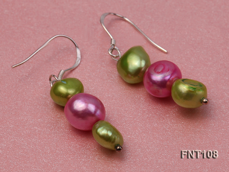 Tree-strand Green and Aubergine Freshwater Pearl Necklace, Bracelet and Earrings Set big Image 7
