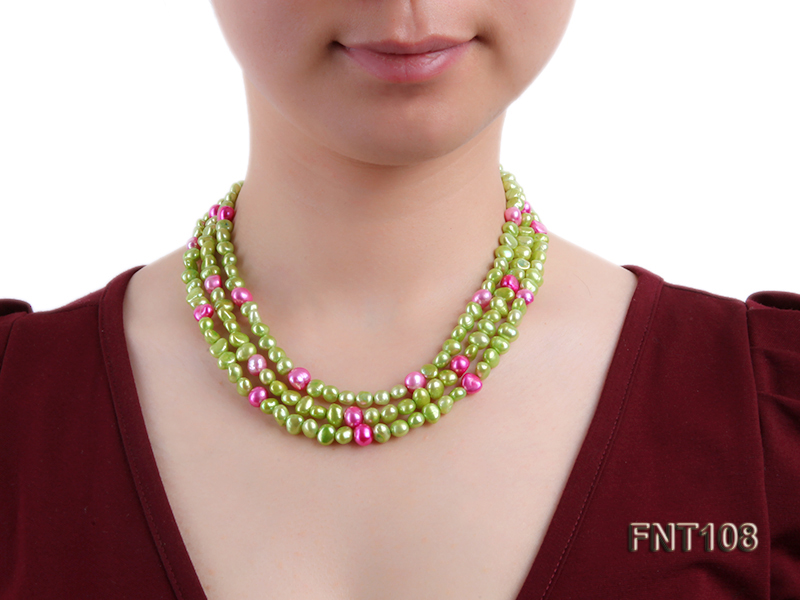 Tree-strand Green and Aubergine Freshwater Pearl Necklace, Bracelet and Earrings Set big Image 9