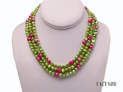 Tree-strand Green and Aubergine Freshwater Pearl Necklace, Bracelet and Earrings Set FNT108 Image 2