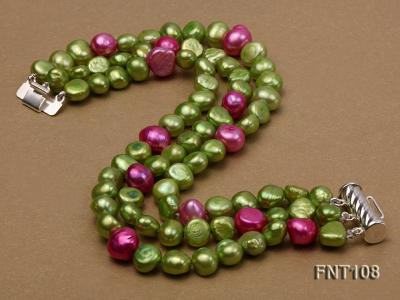 Tree-strand Green and Aubergine Freshwater Pearl Necklace, Bracelet and Earrings Set FNT108 Image 4